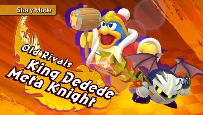 """Das Bild zeigt Meta Knight und König Dedede in """"Kirby Fighters 2""""."""