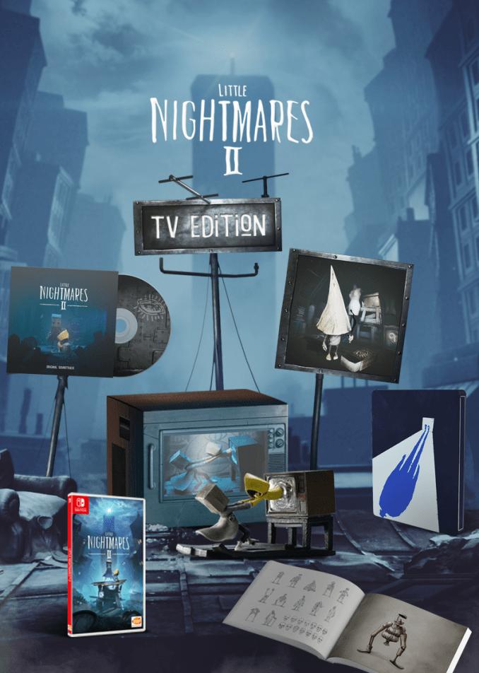 """Das Bild zeigt die Inhalte der TV-Edition zu """"Little Nightmares II"""" für die Switch."""