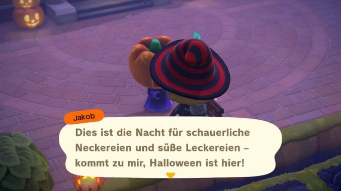 """Das Bild zeigt die erste Unterhaltung mit Jakob an Halloween in """"Animal Crossing: New Horizons""""."""