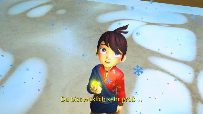 """Das Bild zeigt Ary vor dem ersten offiziellen Endboss. Es handelt sich um eine Szene aus dem Spiel """"Ary and the Secret of Seasons""""."""