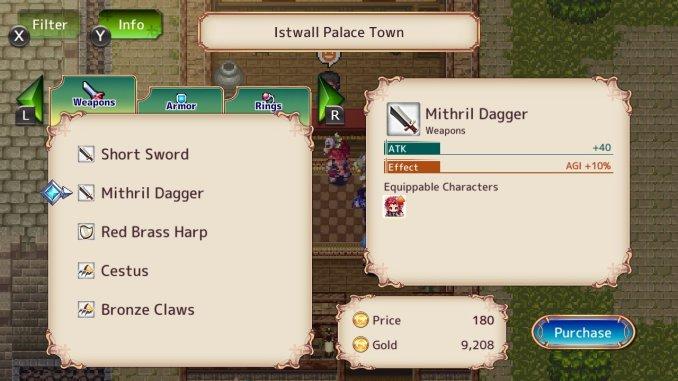"""Das Bild zeigt das Ausrüstungsmenü aus dem Spiel """"Monster Viator"""". Es handelt sich um einen Shop."""
