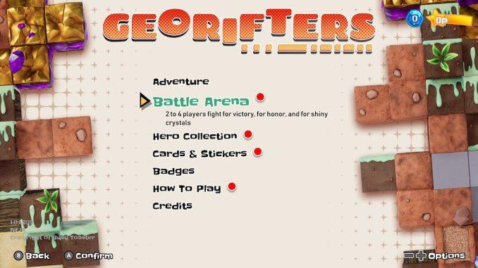 """Das Bild zeigt den Reiter Battle Arena im Menü von """"Georifters""""."""