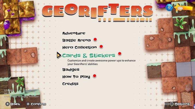"""Das Bild zeigt den Reiter Cards & Stickers im Menü von """"Georifters""""."""