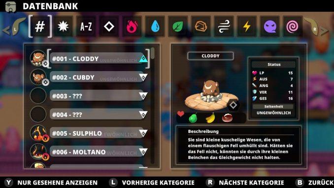 """Das Bild zeigt die Datenbank aus dem Spiel """"Necomon: Extinction""""."""