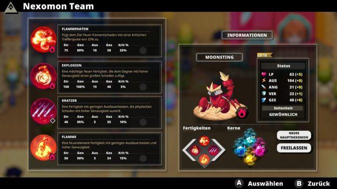 """Das Bild zeigt das Fähigkeitenmenü eines Nexomons aus dem Spiel """"Nexomon: Extinction""""."""