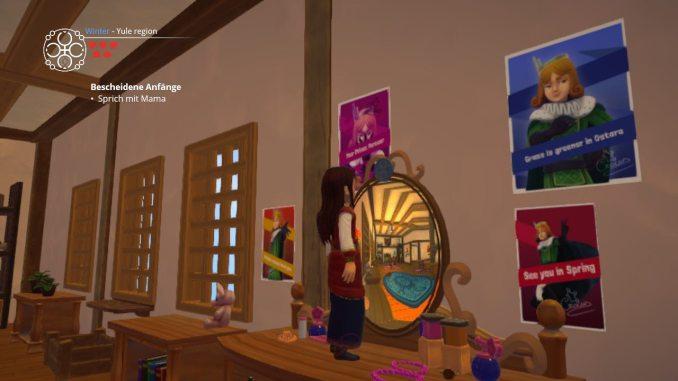 Das Bild zeigt Aryelle vor einem Spiegel stehend.