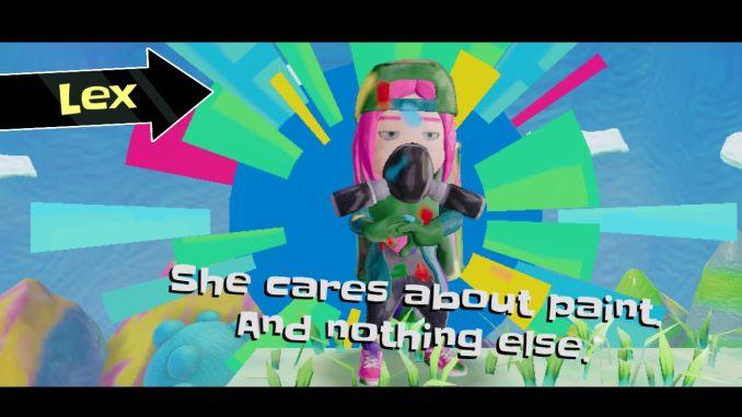 """Das Bild zeigt Lex, eine kunterbunte Künstlerin mit Atemschutzmaske aus dem Spiel """"Georifters""""."""
