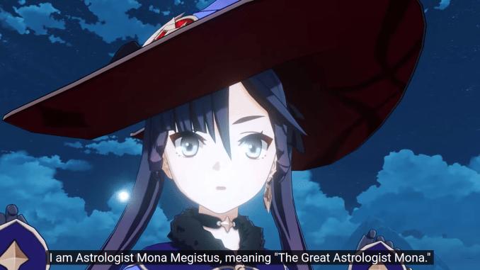 """Das Bild zeigt Mona, einen Charakter aus dem Spiel """"Genshin Impact""""."""
