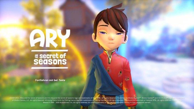 """Das Bild zeigt den Startbildschirm von """"Ary and the Secret of Seasons""""."""