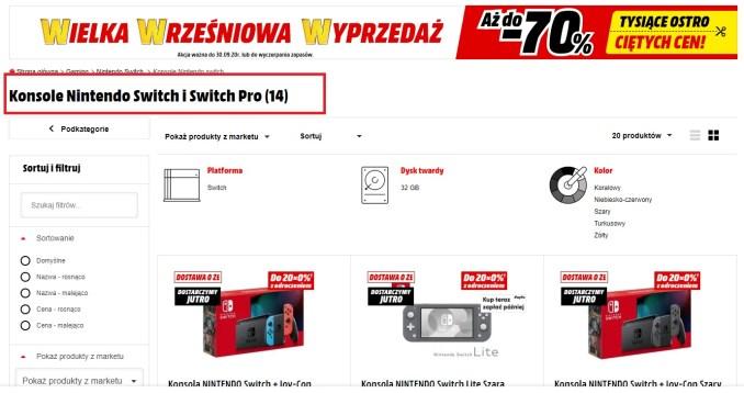 Dieses Bild zeigt wie auf der MediaMarkt Seite in der Überschrift Switch Pro steht.