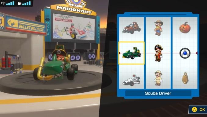 """Das Bild zeigt die Outfit-Auswahl in """"Mario Kart Live: Home Circuit""""."""
