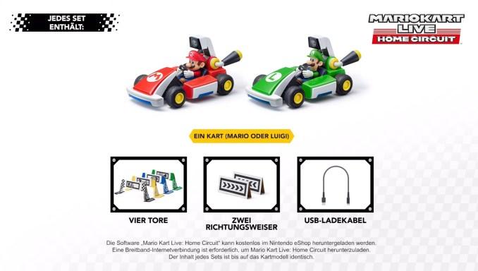 """Das Bild zeigt den Inhalt der Sets von """"Mario Kart Live: Home Circuit""""."""