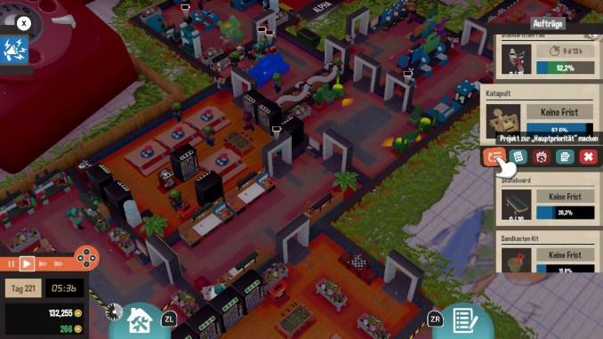 """Das Bild zeigt den Reiter Aufträge in dem Spiel """"Little Big Workshop""""."""