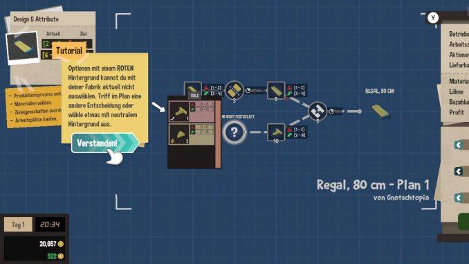 """Das Bild zeigt das Tutorial zu den Eigenschaften der unterschiedlichen Produkte im Spiel """"Little Big Workshop""""."""