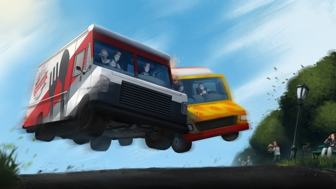 """Das bIld zeigt zwei kämpfende Autos in dem Spiel """"Cook, Serve, Delicious! 3?!""""."""