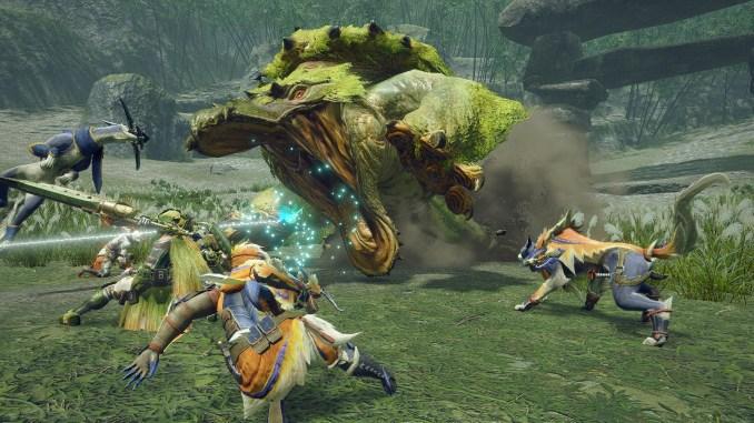 """Das Bild zeigt einen Kampf in """"Monster Hunter Rise""""."""