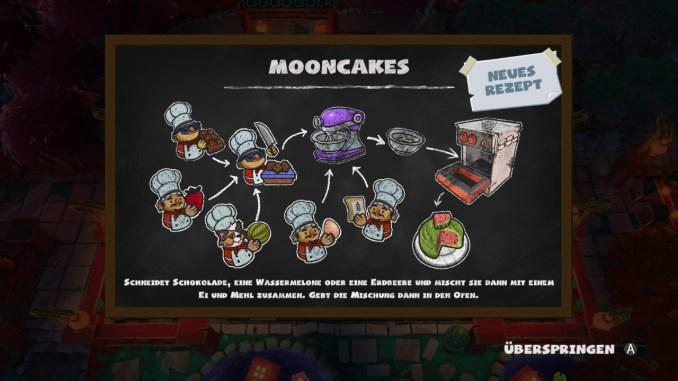 """Das Bild zeigt das neue Rezept des Spieles: Mooncakes. Es handelt sich um ein Rezept aus """"Overcooked! 2"""""""