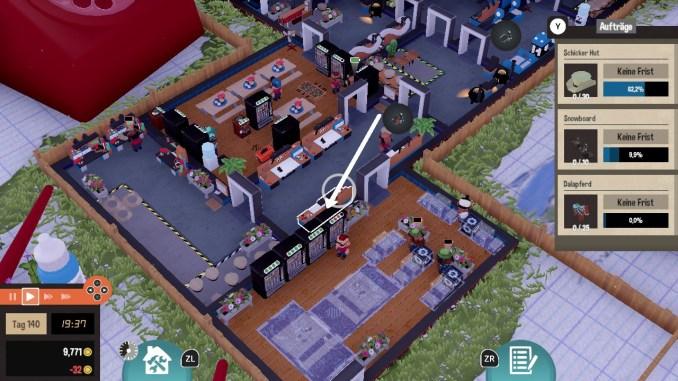 """Das Bild zeigt meine beiden Pausenräume in dem Spiel """"Little Big Workshop""""."""