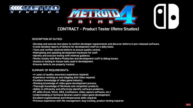 Das Bild zeigt eine Stellenausschreibung als Produkt-Tester für Metroid Prime 4