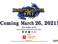 """Das Bild zeigt das Logo und den Release von """"Monster Hunter RIse""""."""