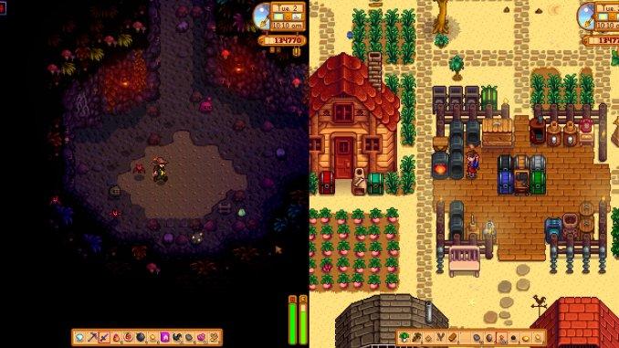 """Das Bild zeigt den Split-Screen des Spieles """"Stardew Valley""""."""