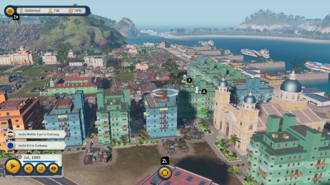Das Bild zeigt eine gut bebaute Insel von Tropico 6