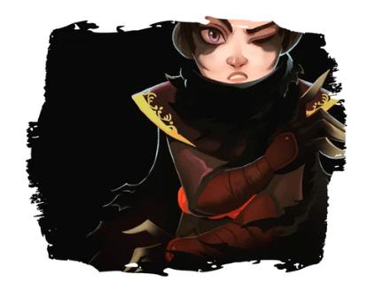 Das Bild zeigt eine mysteriöse Person, ganz in eine schwarze und rote Rüstung gekleidet.