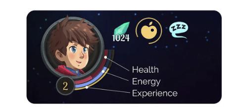 """Das Bild zeigt den Protagonisten Arco und alle wichtigen Anzeigen des Spiels. Es handelt sich um eine Szene aus """"Deiland: Pocket Planet Edition""""."""