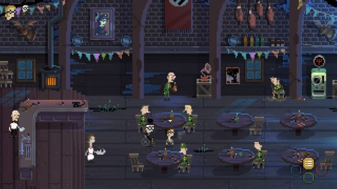 Das Bild zeigt die beiden Protagonisten in der Bar des Feindes, aus dem Spiel Nine Witches: Family Disruption