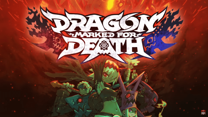 """Das Bild zeigt das Logo von """"Dragon Marked for Death""""."""