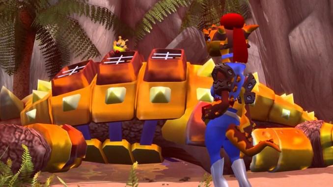 Das Bild zeigt Ty auf einem großen Gegner und Fluffy aus dem Spiel Ty The Tasmanian Tiger 2: Bush Rexcue