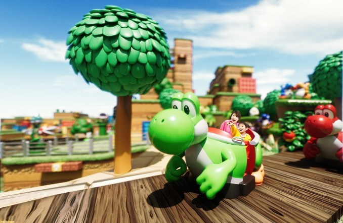 """Das Bild zeigt die Attraktion """"Yoshi's Adventure"""" in Super Nintendo World."""