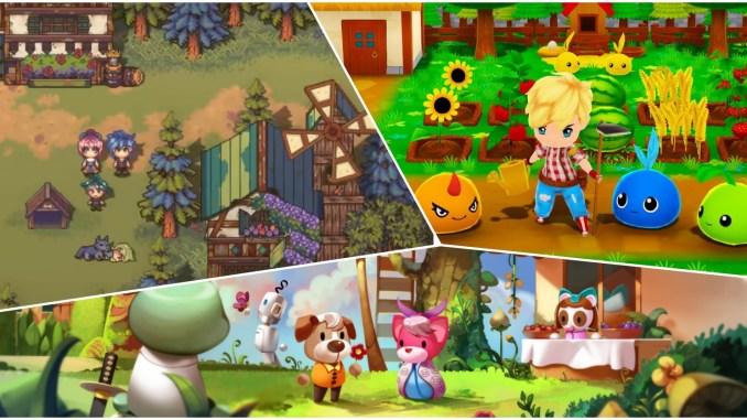 Das Bild zeigt Szenen aus den drei Spielen, welche in diesem Artikel über Farmsimulatoren behandelt werden.