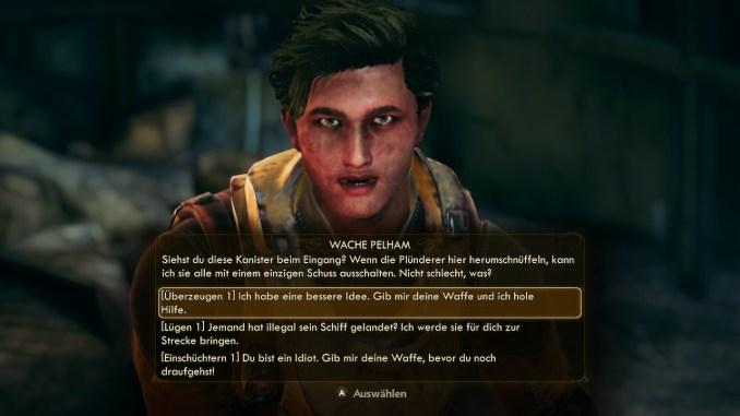 """Das Bild zeigt die Dialog Möglichkeiten aus dem Spiel """"The Outer Worlds"""""""
