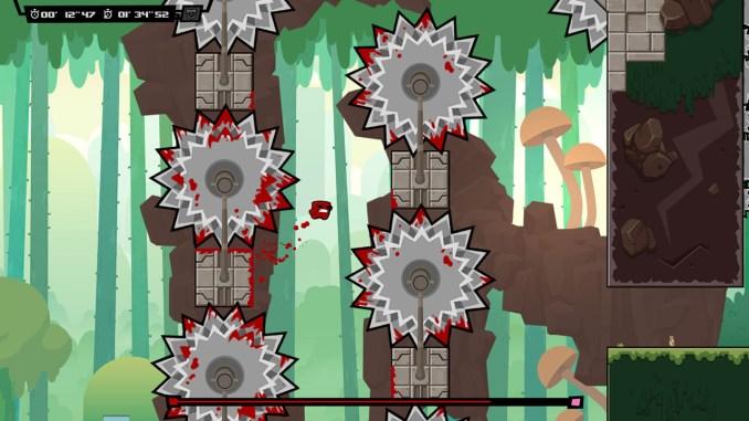 """Das Bild zeigt eine Szene aus dem Spiel """"Super Meat Boy Forever""""."""