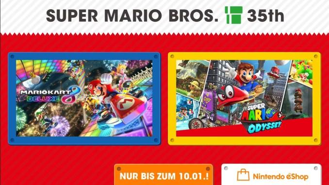 """Das Bild zeigt """"Mario Kart 8 Deluxe"""" und """"Super Mario Odyssey"""" in der Neujahrs-Aktion."""