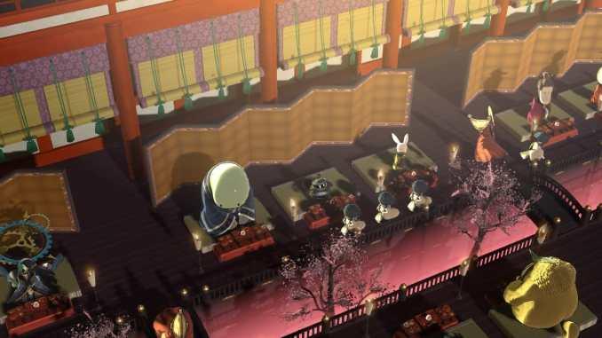 """Das Bild zeigt eine Szene aus dem Bankett von """"Sakuna: Of Rice and Ruin""""."""