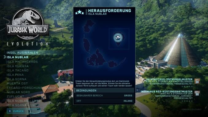 """Das Bild zeigt eine Übersicht über alle Inseln des Herausforderungsmodus von """"Jurassic World Evolution: Complete Edition""""."""