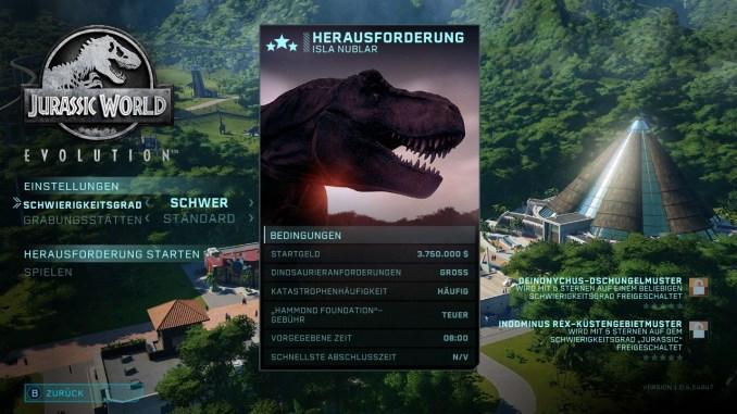 """Das Bild zeigt die verschiedenen Schwierigkeiten des Herausforderungsmodus von """"Jurassic World Evolution: Complete Edition""""."""