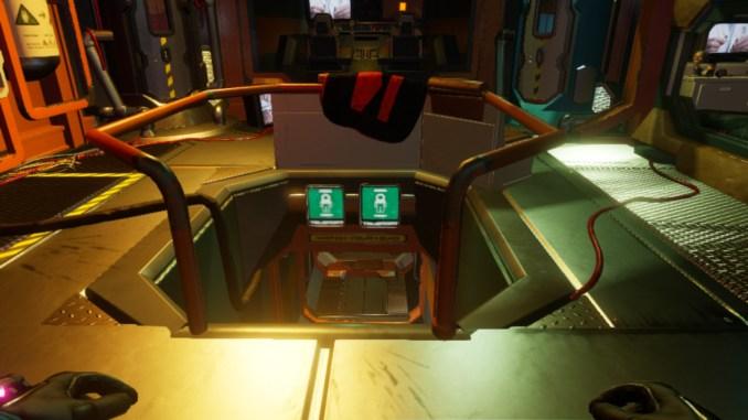 """Auf diesem .jpeg zum Spiel """"Journey to the Savage Planet"""" ist eine Leiter sowie ein Textschild  """"Watch your step"""" im Raumschiff zu sehen."""
