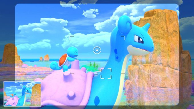 """Das Bild zeigt ein Shiggy, welches ein Lapras reitet aus """"New Pokémon Snap"""""""