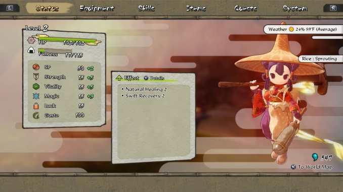 """Das Bild zeigt das Menü des Spieles """"Sakuna: Of Rice and Ruin""""."""