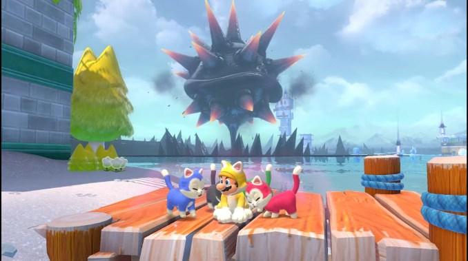 Das Bild zeigt den aufsteigenden Wut-Bowser im Hintergrund, im Vordergrund die farbenfrohen Katzen und Katzen-Mario.