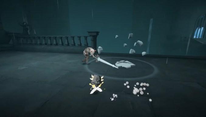 """Das Bild zeigt einen Kampf gegen ein bewaffnetes Skelett in """"Blue Fire""""."""