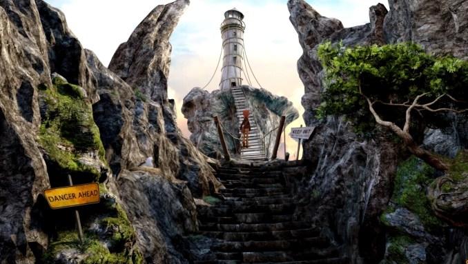 """Das Bild zeigt eine Hängebrücke auf dem Weg zu einem Turm in """"Willy Morgan and the Curse of Bone Town""""."""