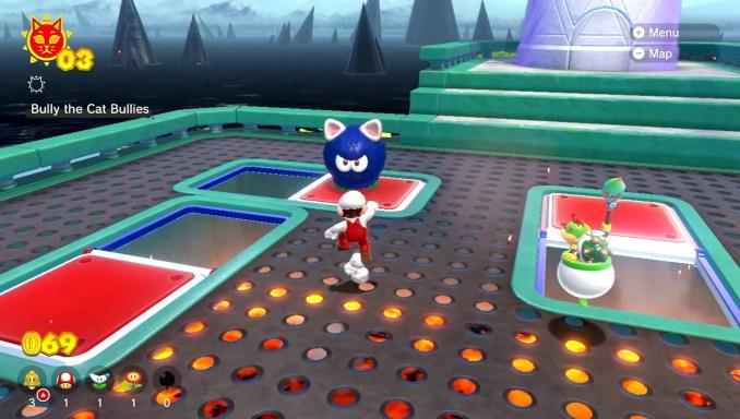 """Das Bild zeigt Super Mario mit einem Gegner in """"Bowser's Fury""""."""
