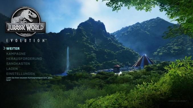 """Das Bild zeigt den Startbildschirm aus dem Spiel """"Jurassic World Evolution: Complete Edition"""""""