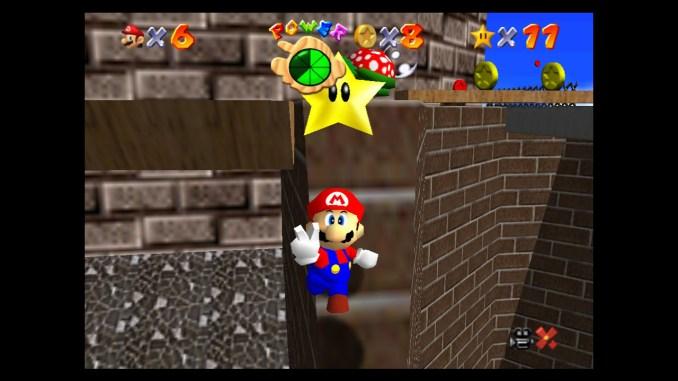 """Das Bild zeigt eine Szene aus """"Super Mario 64""""."""