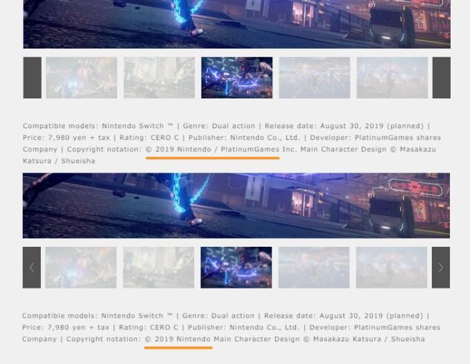Das untere Bild zeigt das veränderte Copyright zu Astral Chain