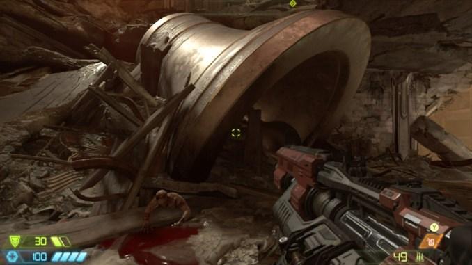 """Auf diesem Bild des Spiels """"Doom Eternal"""" ist eine große Glocke zu sehen."""